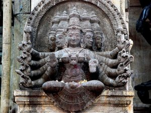 Stone statue of five aspects of Hindu goddess, Meenakshi-Sundareshwarar Temple, Maduari, Tamil Nadu state, India[1]